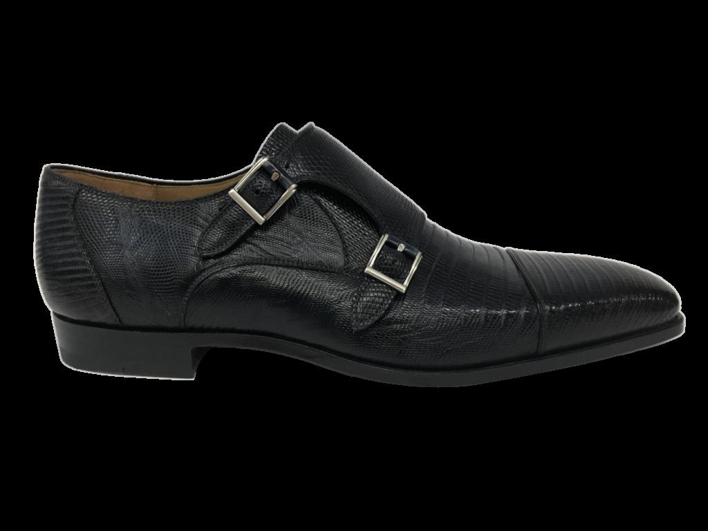 zwarte leren magnanni schoen gespen