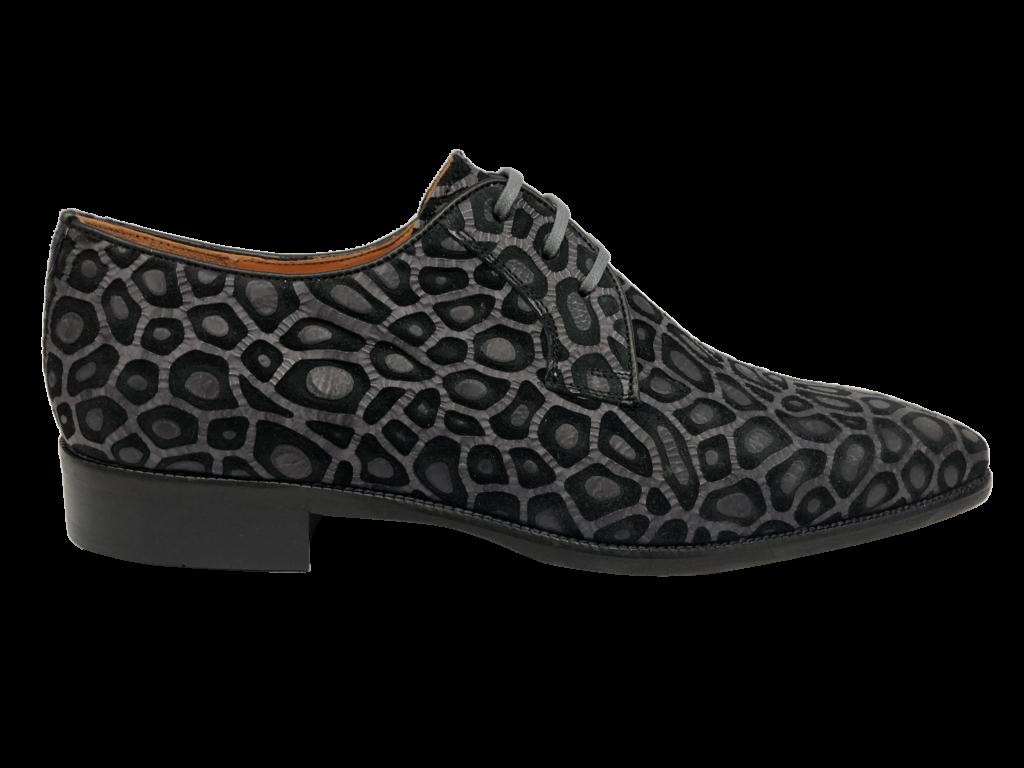 Print zwart grijs schoen Melik